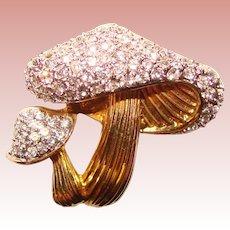 Gorgeous JOMAZ Signed Mushroom Design Vintage Rhinestone Brooch
