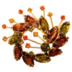 Fabulous Fall Colors Rhinestone Vintage Brooch - Open Backed Glass Stones Autumn