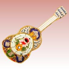 Fabulous Micro Mosaic MUSICAL Design Vintage Brooch – Guitar