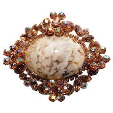 Fabulous D&E JULIANA Orange Aurora & Topaz Rhinestone Vintage Brooch - With Special Glass Stone