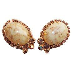 Fabulous D&E JULIANA Amber Aurora & Topaz Rhinestone Vintage Earrings - With Special Glass Stones