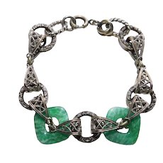Gorgeous ART DECO Square Green Glass Rings Filigree Bracelet