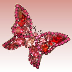 Fabulous WEISS Signed Butterfly PINK & RED Rhinestone Vintage Brooch
