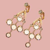 Gorgeous Bezel Edge Set Crystal Stones Dangle Rhinestone Clip Earrings