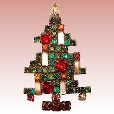 Fabulous WEISS Signed 5 Candle Rhinestone Christmas Tree Brooch - Geometric Design