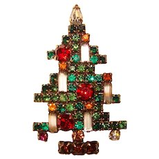Fabulous WEISS Signed 5 Candle Rhinestone Christmas Tree Brooch - Geometric Design