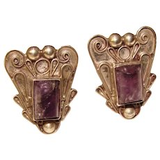 Fabulous STERLING & AMETHYST Vintage Screw Back Earrings