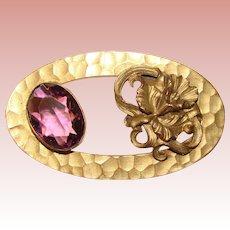 Fabulous Antique Purple Glass ORCHID DESIGN Ornate Sash Pin Brooch