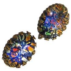 Gorgeous FOIL GLASS Vintage Clip Earrings - Foiled Glass Stones
