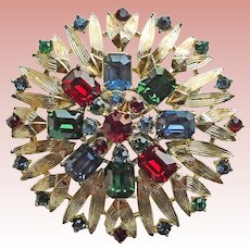 Gorgeous Multi Color Rhinestone Vintage Brooch - Red Green Blue