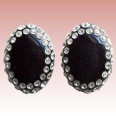 Fabulous Clear Rhinestone Black Early Plastic Vintage Clip Earrings