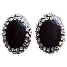 Fabulous Clear Rhinestone Black Early Plastic Vintage Clip Earrings