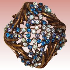 Gorgeous Karu Arke Shades of Blue Vintage Rhinestone Brooch