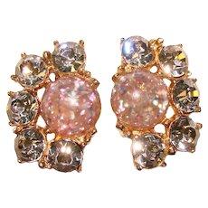 Gorgeous LAVENDER Rhinestone Confetti Lucite Vintage Clip Earrings