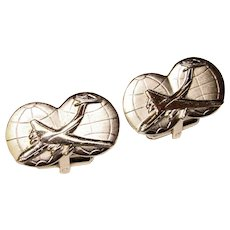 Awesome JET AIRPLANE Globe Design Silver Colored Cufflinks