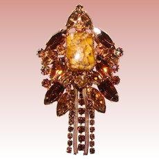Fabulous TOPAZ BROWN Aurora Rhinestone Vintage Dangle Pendant Brooch