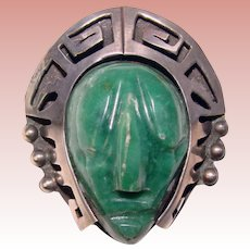 Fabulous MEXICAN STERLING Green Stone Carved Face Design Vintage Brooch