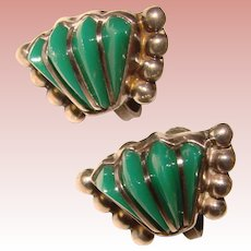 Gorgeous MEXICAN STERLING Green Stone Vintage Earrings