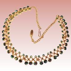 Fabulous PEACOCK AURORA Rhinestone Vintage Necklace