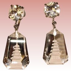 Gorgeous GLASS CRYSTAL PAGODA Sterling Vintage Earrings - Reverse Carved