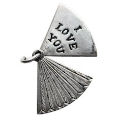 Sterling I LOVE YOU Fan Shaped Mechanical Charm - Secret Message - Movable