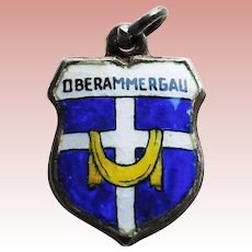 800 Silver & Enamel OBERAMMERGAU Vintage Estate Charm - Souvenir of Germany
