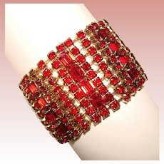 Fabulous WIDE RED Rhinestone Vintage Bracelet