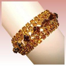 Fabulous AMBER & TOPAZ Colored Rhinestone Vintage Bracelet