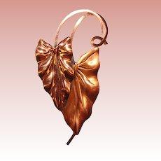 Gorgeous RENOIR Anthurium Leaf Design Vintage Copper Brooch