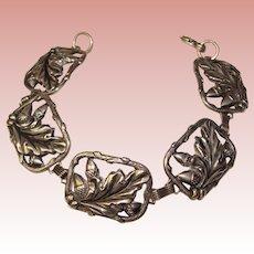 Fabulous STERLING Acorn Oak Leaf Design Vintage Bracelet