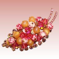 Fabulous D&E JULIANA Pink & Aurora Rhinestone With Dangles Vintage Brooch