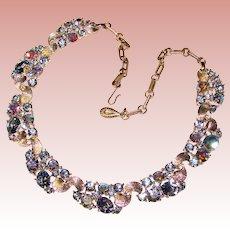 Fabulous LISNER Signed Vintage Blue Aurora Necklace