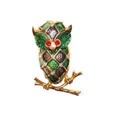 Fabulous BOUCHER Owl Design Vintage Brooch
