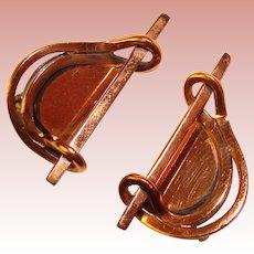 Fabulous RENOIR Signed Modernist Design Vintage Clip Earrings