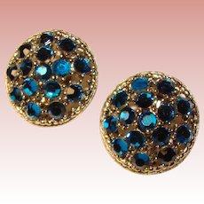 Fabulous WEISS Signed Capri Blue Rhinestone Vintage Clip Earrings