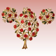 Fabulous SPHINX Rhinestone Christmas Tree Brooch & Earrings Set