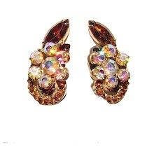 Fabulous D&E JULIANA Topaz Brown & Aurora Rhinestone Vintage Earrings