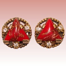 Gorgeous RED GLASS Aventurine Sparkles Vintage Clip Earrings
