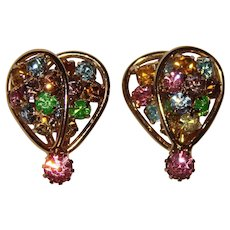 Gorgeous COLOR RHINESTONE Vintage Clip Earrings