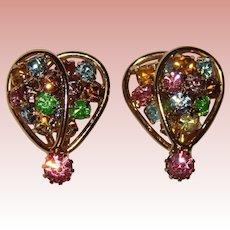 Gorgeous COLOR RHINESTONE Vintage Clip Earrings