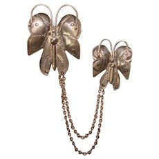 Fabulous STERLING Southwest Design BUTTERFLY Chatelaine Brooches