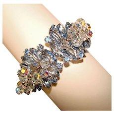 Fabulous D&E Juliana BLUE Rhinestone Clamper Bracelet