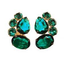 Fabulous Vintage Green Glass & Rhinestone Clip Earrings