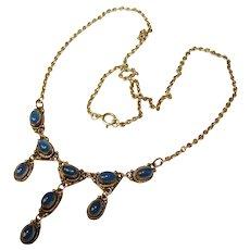 Fabulous STERLING BEZEL SET Blue Stones Vintage Dangle Necklace