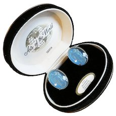 Swank Arts of The World Angel & Lady Vintage Cufflinks - Bavarian Crystal - Original Box