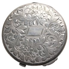 Fabulous BIRKS STERLING Engraved Floral Powder Compact - Vintage Signed
