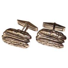 Fabulous JAMES AVERY Signed Sterling Pecan Design Cufflinks
