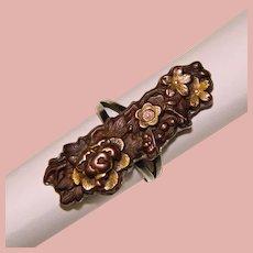 Fabulous Antique SHAKUDO Flower Design Sterling Setting Ring