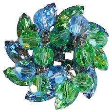 Fabulous D&E JULIANA Green & Blue Dangle Crystal Rhinestone Vintage Estate Brooch