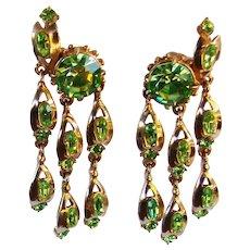 Fabulous HOLLYCRAFT Signed Green Rhinestone Vintage Dangle Earrings – Copr. 1955